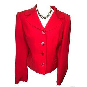 Bebe Cherry Red Short Jacket Blazer Button Down 10